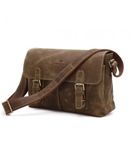 Мужская кожаная сумка через плечо, лошадиная кожа, модель 6002B