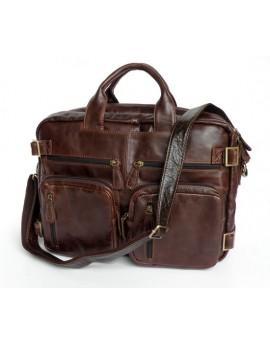 Мужская кожаная сумка трансформер: рюкзак, бриф 7026Q, SJD