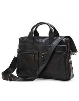 Мужская кожаная сумка, офисная сумка,  черный цвет, SJD 7122